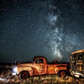 Hauling Milkyway by Evan Jones - Landscapes Starscapes ( studebaker, truck, vintage, stars, way, night, rusty, rustic, milky,  )