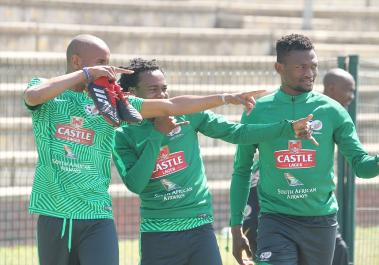 Percy Tau with team mates during the South African national mens soccer team training session at Princess Magogo Stadium on September 04, 2018 in Durban, South Africa.