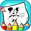 Art mickey Coloring Page Mouse Cartoon Icon