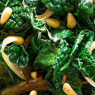 Kale with Onions and Pine Nuts