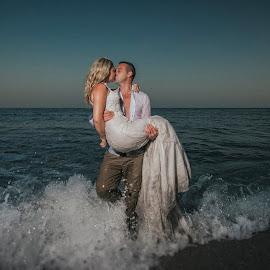 Cooling Down by Adrian O'Neill - Wedding Bride & Groom ( love, kiss, hot, sea, bride, groom )