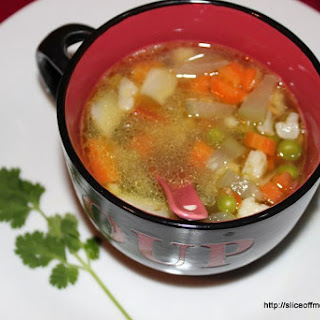 Clear Vegetable soup with an Indian Phodni.