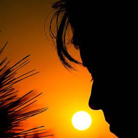 summer silhouette by Gregor Znidarsic - People Portraits of Women ( girl, rodos, sunset, silhouette, greece, yellow, sun,  )