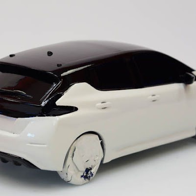 3d printing gallery image of a nissan leaf miniature car model, painted in true automotive gloss paint