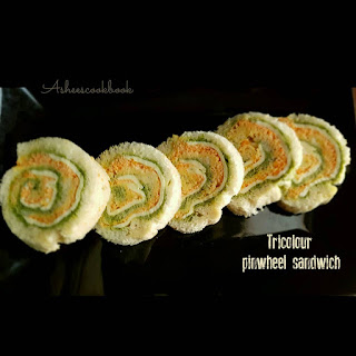 Tri Colour Pinwheel Sandwich