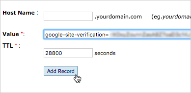 The verification record is entered in the Value field and 28800 is entered in the TTL field. The Add Record button is selected.