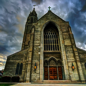Let Your Light Shine by Francis Hesse - Buildings & Architecture Places of Worship ( clouds, religion, gothic, church, hdr, california, d7000, los angeles, architecture, storm )