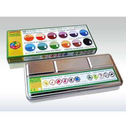 ökoNORM vattenfärger i plåtask, 12 färger