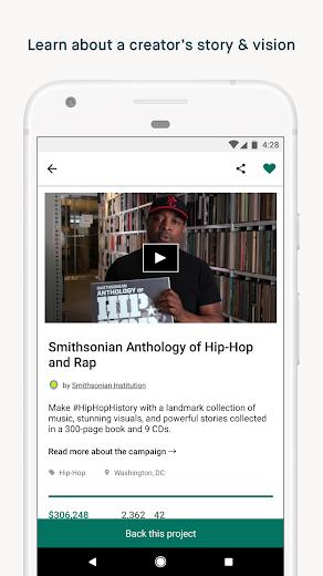 Screenshot 1 for Kickstarter's Android app'