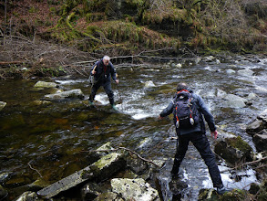 Photo: Adventure bryology: Nick Hodgetts (L) and Gordon Rothero (R) crossing the Abhainn Droma in the Corrieshalloch Gorge - Wester Ross