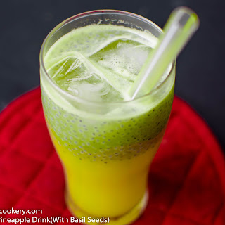 Fresh Pineapple Drink(With Basil Seeds)