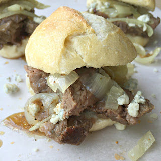 Skirt Steak Sandwiches with Caramelized Onions and Blue Cheese