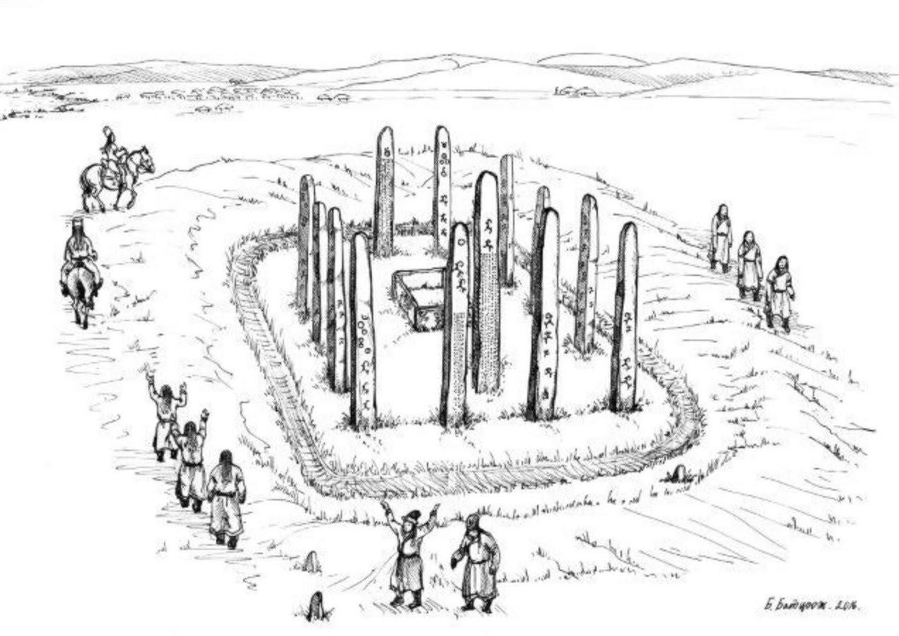 Göktürk Mezarı Temsili Çizimi