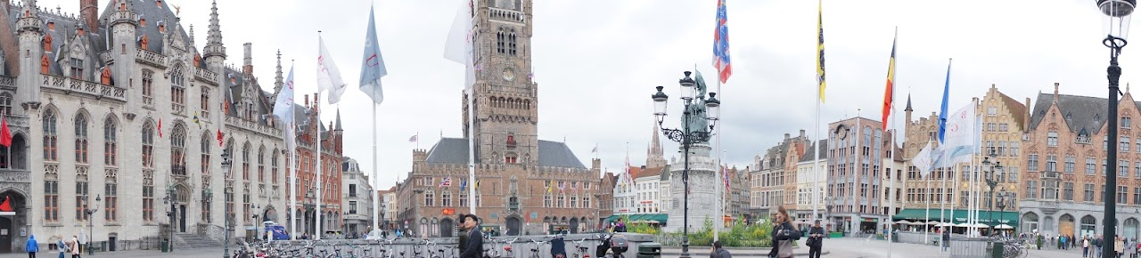 Historical Market Square panorama in Brugge, Belgium (2014)