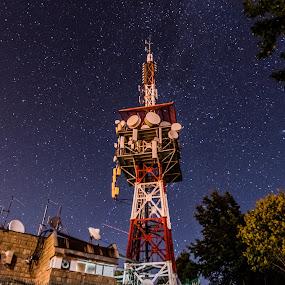 satelitetower by Kiril Kolev - Landscapes Starscapes ( tower, sky, night photography, stars, long exposure, night )