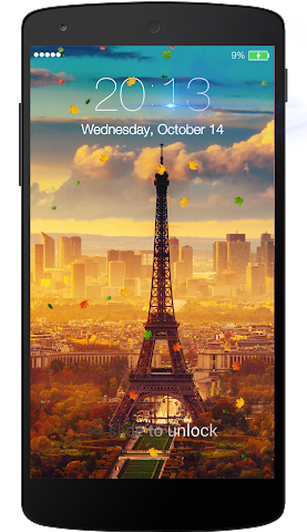 android Fall leaves Lock Screen Screenshot 0