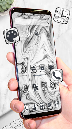 Screenshot for White Marble Theme⚫⚪ in United States Play Store