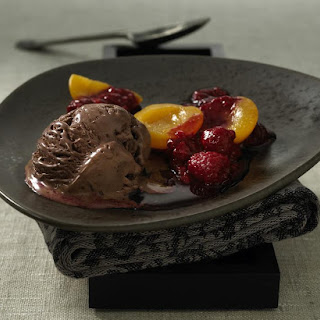 Chocolate Ice Cream with Apricots and Raspberry Sauce.