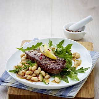 Sirloin Steak with Braised Cannellini Beans.