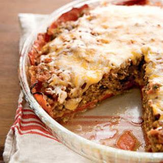 Crustless Tex-Mex Meatloaf-Cheddar Pie