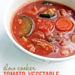 Crockpot Tomato Turkey and Vegetable Soup.