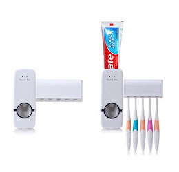 Dozator pasta de dinti cu suport pentru 5 periute + Cadou: Pasta de dinti