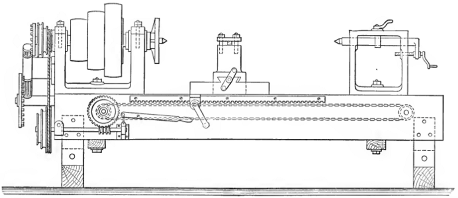 "Front Elevation of Old ""Chain Lathe"""