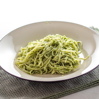 Homemade Broccoli Pesto On Angel Hair Pasta