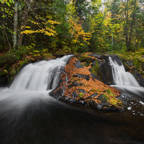 Lower Duppy Falls by Kenneth Keifer - Landscapes Waterscapes ( north woods, lower duppy falls, waterfall, vivid, vibrant, remote, blur, dumpy falls, landscape, leaves, dumpy, nature, lower dumpy falls, autumn, duppy falls, foliage, creek, rocks, picturesque, colors, midwest, beautiful, forest, scenic, woods, michigan, blurred, upper peninsula, splashing, color, seasons, falls, changing, u.p., trees, woodland, october, whitewater )