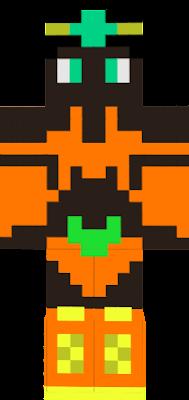 Black skin, orange bikini, jade eyes and crown, orange and gold boots.