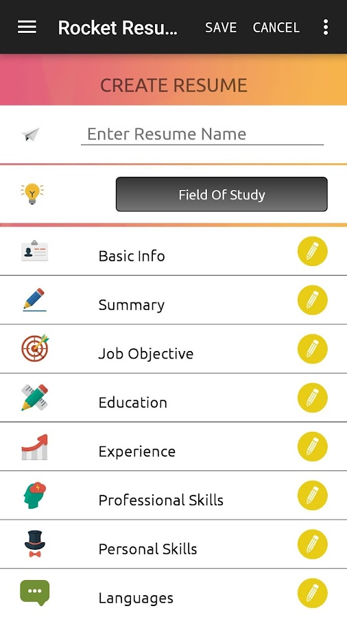 rocket resume builder is a free resume building app which helps you