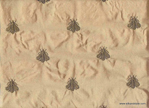 Photo: Embroidered Silk Taffeta ~ Honeybees - Putty
