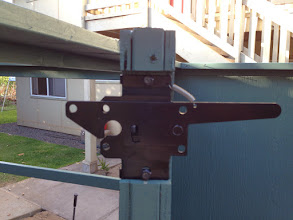 Photo: Heavy duty gate Hardware notched into gate, we painted after we notched so there id paint under the hardware