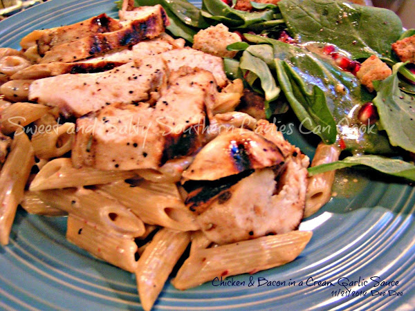 Chicken & Bacon With Penne In Creamy Garlic Sauce Recipe