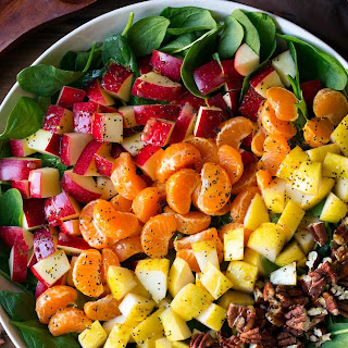 Apple Mandarin Orange Pear and Feta Spinach Salad with Orange Poppy Seed Dressing.