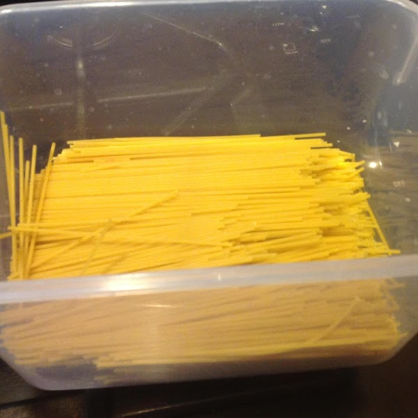 Now add in the broken pasta, and stir to mix together, keeping pasta separated...