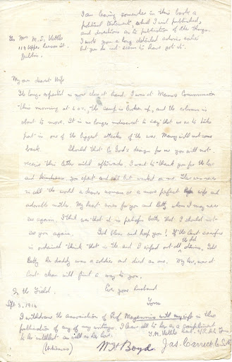 Final letter from Tom Kettle to his wife, Mary. 3 September 1916.