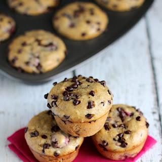 Skinny Banana Raspberry Chocolate Chip Muffins.