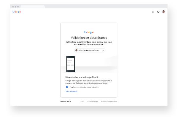 Écran de validation en deux étapes à l'intérieur d'un navigateur dans Chrome