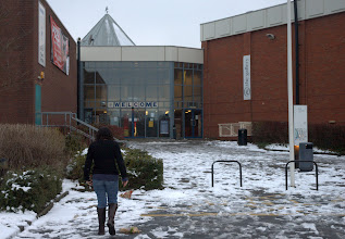 Photo: Lottie and the Stratford upon Avon Leisure Centre. The sudden widespread snowstorm reduced attendance at the PV.