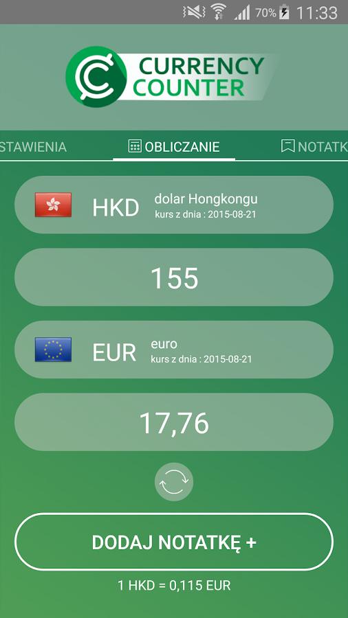 Kalkulator Walut – zrzut ekranu