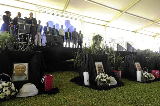 There were tears at the memorial service for the seven miners who died at the Sibanye Gold Mine in Carletonville during a seismic event. / Thulani Mbele