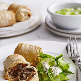 Lebanese Lamb Rolls with Cucumber Salad.