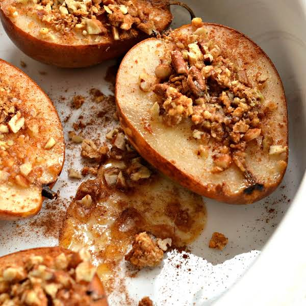 A Family Friendly Light Wholesome Dessert That Can Be Prepped And In The Oven In Less Than Five Minutes.  If You Have Never Indulged In A Baked Pear Than This Is A Must Try!