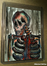 Photo: Calaveras #37. 2 ½  inches x 3 ½  inches or 6 cm x 9 cm. Watercolor and ink on 110 lb. acid-free paper. Signed and dated on the front; title, date, and signature on reverse. Sealed with a matte finish. Comes in a clear rigid plastic top-loader. ©Marisol McKee