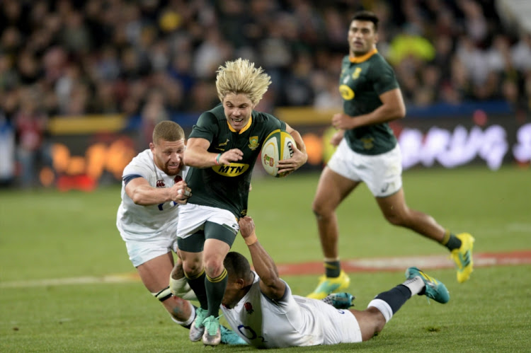 Faf de Klerk makes a break for the Springboks during the test match between South Africa and England at Ellis Park on June 09, 2018 in Johannesburg, South Africa.