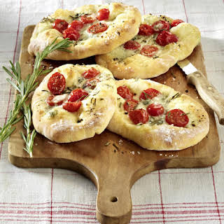 Quick Gorgonzola, Cherry Tomato and Rosemary Focaccias.