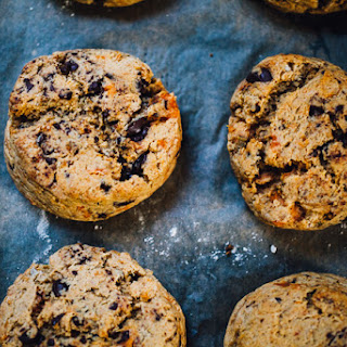 Vegan Sweet Potato Chocolate Chip Einkorn Scones