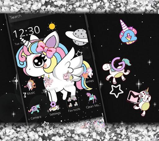Glitter Galaxy Cute Rainbow Unicorn Theme 1.1.1 screenshots 3
