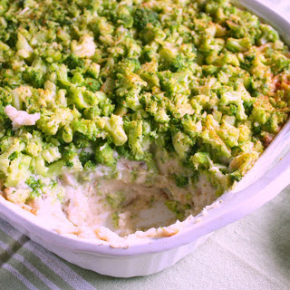 Mashed Potato Casserole With Broccoli and a Cauliflower Gravy [Vegan].